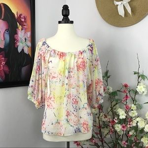 CAbi #826 In Case Sheer Watercolor Floral Blouse